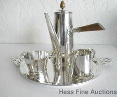 Tiffany Co Arts Crafts Modern Sterling Silver Chocolate Pot Set w Piercing Work #ArtsCrafts #TiffanyCo