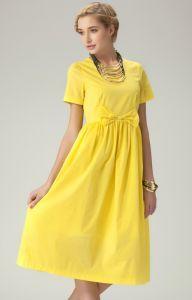 Yellow Short Sleeve Bowknot Waist Long Dress