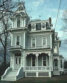 Second Empire Victorian - Gothic look Victorian Homes Exterior, Victorian Style Homes, Victorian Architecture, Beautiful Architecture, Beautiful Buildings, Victorian Era, Beautiful Homes, Victorian Houses, Victorian Decor