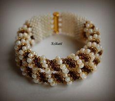 Beige gold brown bracelet, Statement beadwork bracelet, Multi Strand bracelet, Unique seed bead bracelet, Elegant jewelry, OOAK jewelry