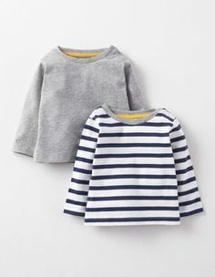 Navy Stripe/Grey Marl Twin Pack T-shirts Boden