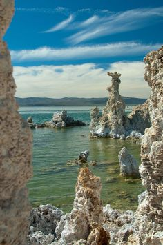The delicate white tufa towers formed where freshwater springs percolate up from the bottom of the lake. Mono Lake California