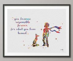The Little Prince Le Petit Prince with Fox Quote Watercolor illustrations Art Print Giclee Wall Decor Art Home Decor Wall Hanging No 239