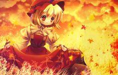 Фото обои девочка, листопад, осень, аниме, листья