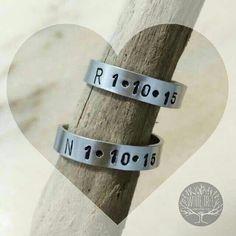 """Ready for  Valentine's day?  This is an idea for a special gift!Couple rings with your """"first"""" date on them!  Pronti per San Valentino? Vi proponiamo un'idea per un regalo speciale! Una coppia di anelli personalizzabili con le vostre iniziali e la vostra data del cuore!  #valentine #valentines #valentinesgift #valentineday #valentines2016 #rings #couplerings #happyvalentinesday #sanvalentino by whitetreecreations"""