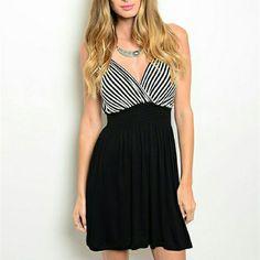 Short Black White Striped Dress