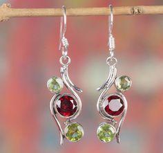 Silver Earrings – Garnet Earring, 925 Silver Earring, Dangle Earring – a unique product by Midas-Jewelry on DaWanda