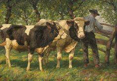 Bauer mit Kühen am Gatter von Heinrich von Zügel - Künstlerdatenbank - VAN-HAM Kunstauktionen