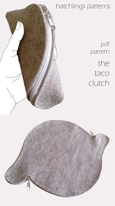 The Taco Clutch Felt or leather zip clutch purse PDF sewing