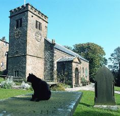 "16th century St Mary's Church at Newchurch in Pendle where the tombstone known as the Witches' Grave and the ""Eye of God"" are to be found. Chattox was alleged to have desecrated graves in this churchyard to collect skulls and teeth"