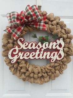christmas wreath burlap wreath seasons greetings wreath holiday burlap wreath holiday door decor christmas burlap wreath christmas decorrts