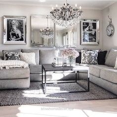 Great Living Room decor ideas – glamorous, chic in grey and pink color palette with sectional sofa, graphic black & white photography and crystal chandelier. The post Li ..