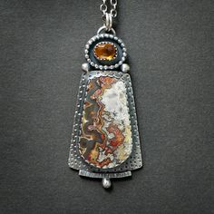 Black Lace Agate and Faceted Citrine Sterling Silver Necklace