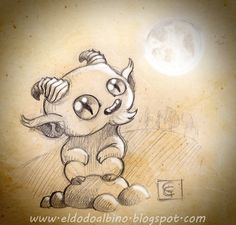 Faun staring at the full moon. Traditional drawing with digital retouch