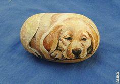 Hand painted rock.Labrador puppy by Alika-Rikki, via Flickr