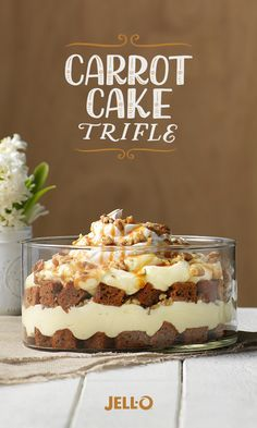 This impressive dessert trifle recipe takes carrot cake to the next level. Start with JELL-O® Vanilla Flavor Instant Pudding, KRAFT Caramels, cream cheese, and carrot cake mix. Top with walnuts for an added nutty crunch. Desserts Keto, Trifle Desserts, Just Desserts, Delicious Desserts, Yummy Food, Layered Desserts, Dessert Trifles, Desserts Caramel, Pudding Desserts