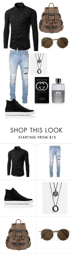 """""""Men outfit #4"""" by abecker2017 ❤ liked on Polyvore featuring Balmain, Common Projects, ASOS, Wilsons Leather, Cutler and Gross, Gucci, men's fashion and menswear"""