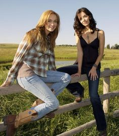 Amber Marshall and Michelle Morgan as Amy and Lou Fleming on Heartland Heartland Characters, Heartland Actors, Watch Heartland, Heartland Quotes, Heartland Ranch, Heartland Seasons, Heartland Tv Show, Ty E Amy, Westerns