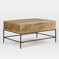 Industrial Storage Coffee Table, Small, Raw Mango