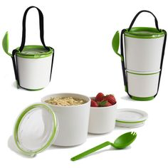 Lunch Pot.  Bottom pot holds 10 oz. Top pot holds 18.5 oz. Watertight locking seals. When empty, smaller pot fits inside larger pot. Microwave and dishwasher safe. Includes spork and carry strap. $22.00