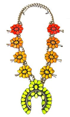 Ombre Squash Blossom Necklace- Hand Cast Sterling Silver and Hand Dyed Swarovski Cabochon Crystal (Oranges)