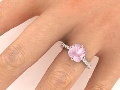 wedding ideal ring, rose gold rings, proposal rings, pink emerald ring - Engagement Rings