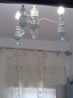 Vecchio lampadario convertito in stile Shabby