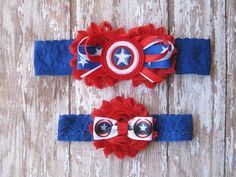 Captain America Lace Garter Set  Red White and by GeekyGarters
