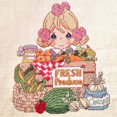 Completed cross stitch. Precious Moments cross stitch. Wall decoration. Kids bedroom/playroom decor.
