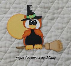 Halloween Owl Witch Premade Paper Piecing set for scrapbook pages albums borders