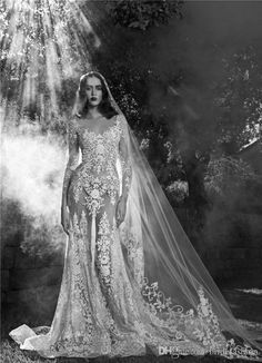 2016 New See Through Sexy Mermaid Wedding Dresses Scoop Neck Long Sleeve Chic…