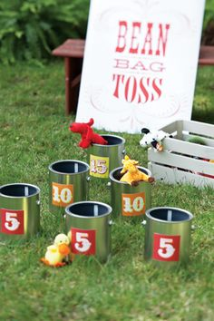 Bean Bag Toss - Label paint cans with the numbers 5, 10, or 15—the points awarded for each throw. For a fun variation on traditional beanbags, use beanbag animals.