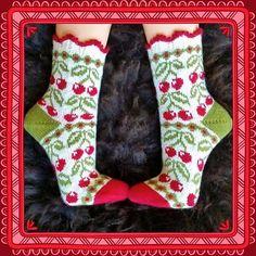 Ravelry: Cherry Dream (körsbärsdröm) pattern by JennyPenny Knitting Stitches, Knitting Designs, Knitting Socks, Hand Knitting, Knitting Patterns, Knit Stockings, Knit Shoes, Patterned Socks, Pattern Library