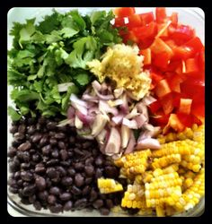 Black Bean Salad with Corn, Red Peppers, Avocado, and Lime-Cilantro Vinaigrette  MMMMM!! Super easy to make and delicious! http://hellifignaw.blogspot.com/2012/01/all-things-delicious.html