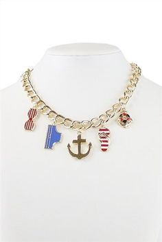Gold Tone Multicolor Beachlife Fashion Statement Chain Anchor Charm Necklace. Free shipping and guaranteed authenticity on Gold Tone Multicolor Beachlife Fashion Statement Chain Anchor Charm NecklaceFashion Statement Nautical By The Sea  , Beachy se...