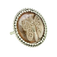 Round Silver Butterfly Door Knob - Cabinet Cupboard Drawer Handle Pull Vintage | eBay