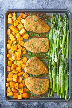 One Pan Baked Chicken with Butternut Squash and Parmesan Asparagus - An easy fool-proof sheet pan dinner! And the chicken comes out so moist and tender! cut the squash small or cook it longer. A great, easy dinner that is healthy too. Parmesan Asparagus, Asparagus Recipe, Baked Chicken With Asparagus, Baked Chicken Sweet Potato, Parmesan Squash, Garlic Kale, Asparagus Spears, Sheet Pan Suppers, Clean Eating