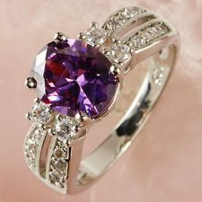 Cocktail Jewelry Amethyst & White Topaz Gemstone Silver 432DR1-9 Ring Size 9