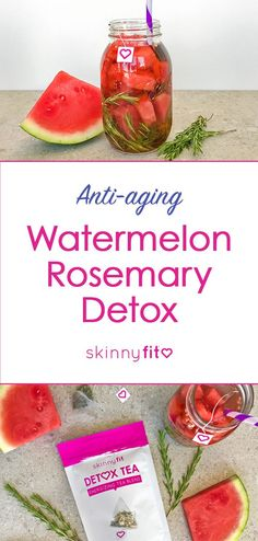 Refresh and rewind with this anti-aging watermelon rosemary detox recipe! Skinnyfit Detox Tea is power-packed with 13 superfood ingredients to help you feel healthy and energized all day long. Week Detox Diet, Detox Diet Drinks, Cleanse Diet, Stomach Cleanse, Jus Detox, Detox Tea, Detox Soup, Skinny Fit Tea, Anti Aging