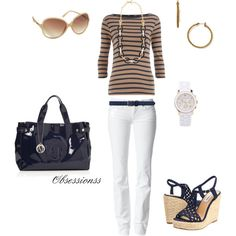 A fashion look featuring jersey shirts, white jeans and wedges shoes. Browse and shop related looks.