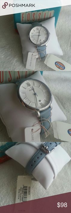 Fossil Blue Leather Watch Brand new with tag in box Japan Movement Strap ES3821 Light blue color Fossil Accessories Watches