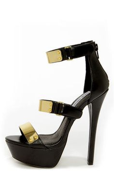 Steve Madden Areaa Black and Gold-Plated Platform Heels at Lulus.com!