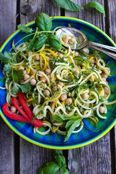 Thai Chickpea Zucchini Noodle Salad Recipe - Cookin Canuck