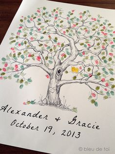 Fingerprint Tree Wedding Guest Book Alternative, Original Hand-drawn Extra Large Elm Design (ink pads sold separately)