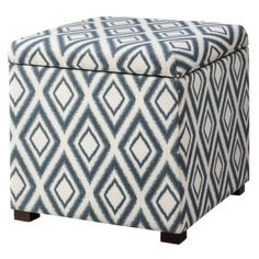 Threshold™ Rectangular Single Storage Ottoman - Blue Diamond Ikat