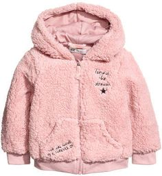 H&M Pile hooded jacket - Pink Justice Bags, Designer Baby Clothes, Usa Baby, Baby Coat, Girls Fleece, Baby Kids Clothes, Fashion Kids, Kind Mode, Kids Wear