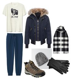 """Louise winter"" by ana-vivier ❤ liked on Polyvore featuring Mackage, Burberry, American Eagle Outfitters, Skechers, UGG, Uniqlo, Gap, men's fashion and menswear"