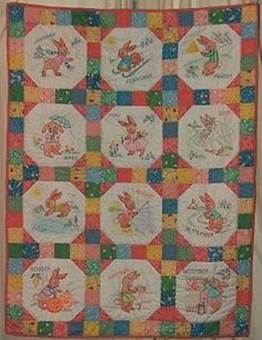SALE Vintage Baby Embroidered Crib Quilt Pattern Bunny Months 1940s Mail Order *