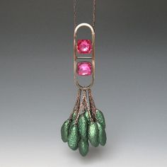 Tamara Grüner  Necklace: Crystal Deep Green 2012  Historical metal plate - blackened, glass, blackened silver