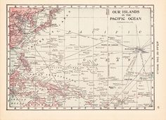 This vintage map came out of a 1917 Atlas. South Pacific, Pacific Ocean, Islands In The Pacific, Gardner Mckay, Vintage Antiques, Map, Paradise, Tropical, Wall Decor